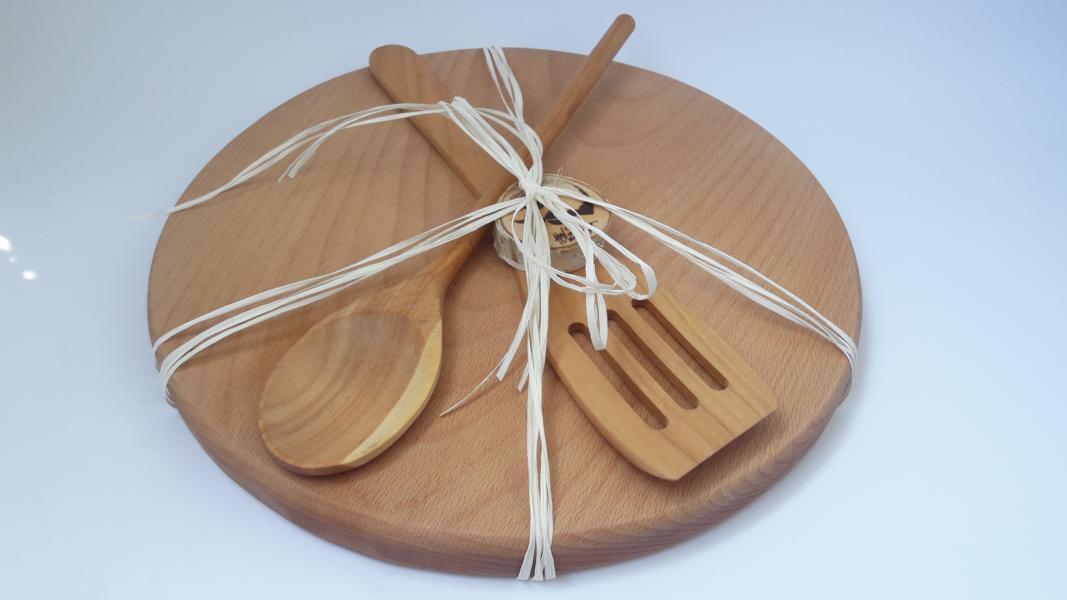 Holzbretter+Holzsalatbesteck