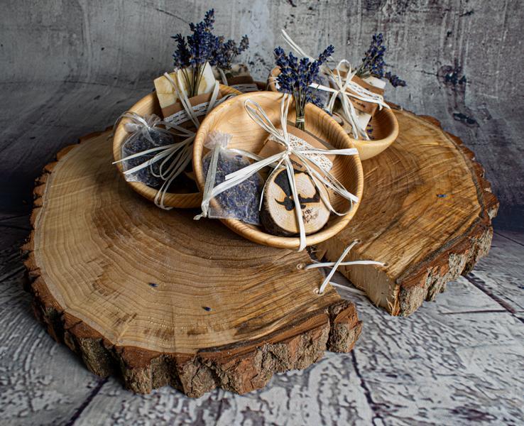Holzschälchen+Handmadeseife+Lavendelsäckchen